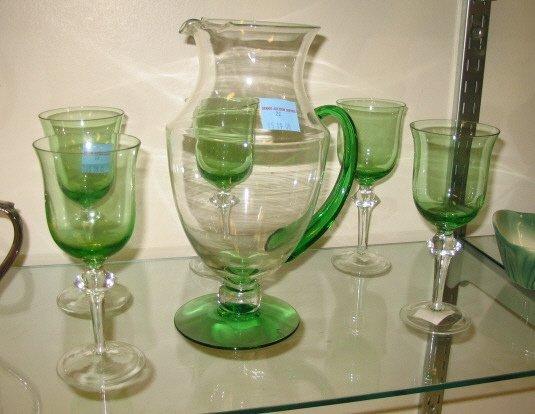 1022: GREEN & CLEAR BLOWN GLASS WATER SET