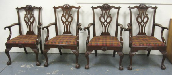 1065: SET OF 4 KITTINGER CHIPPENDALE STYLE ARM CHAIRS