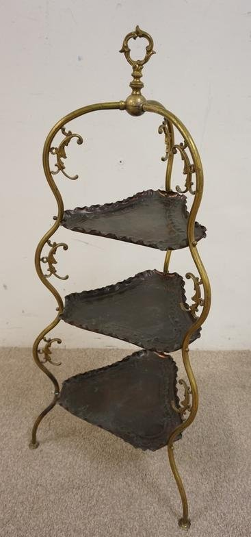 BRASS AND COPPER 3 TIER STAND