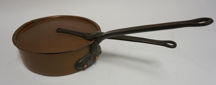 COPPER COVERED PAN WITH CAST IRON HANDLES