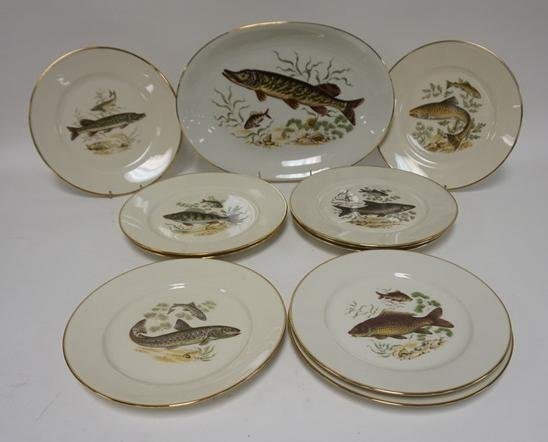 11 PC PORCELAIN FISH SET