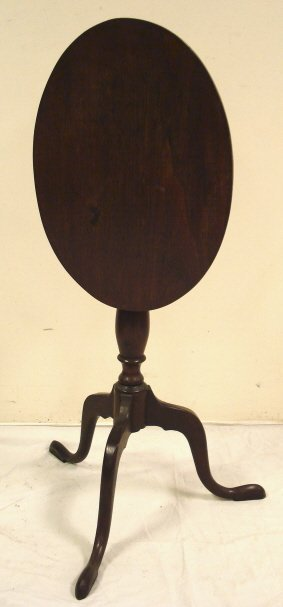 2014: TILT TOP CANDLE STAND, OVAL TOP W/SNAKE FEET