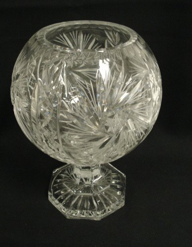 2023: CUT CRYSTAL LARGE FOOTED ROSE BOWL