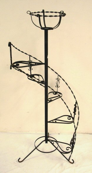 2029 Spiral Plant Stand Wrought Iron