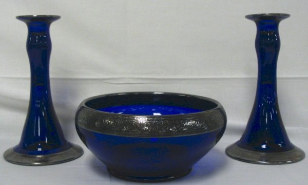 3: COBALT BLUE 3 PC CONSOLE SET; SILVER OVERLAY; BASE O