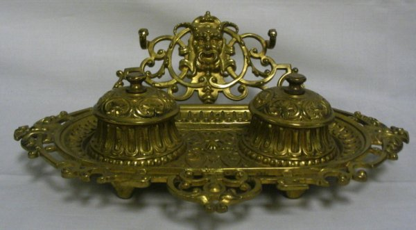 8: BRASS VICTORIAN DOUBLE INKWELL; HAS GLASS INSERTS, P