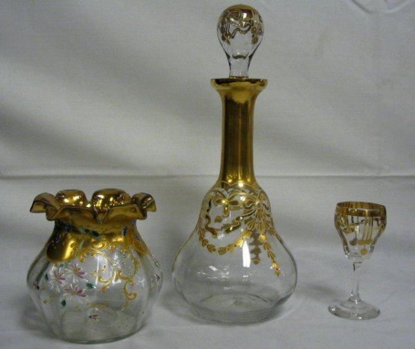 21: BLOWN, ENAMELED DECANTER, WINE & ROSE BOWL; DECANTE