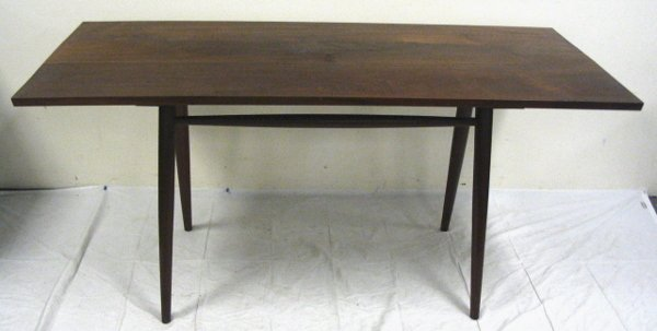 303: MID CENTURY MODERN TABLE; 60 IN X 26 1/2 IN, 28 1/