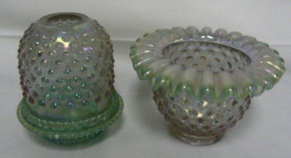 1002: FENTON HOBNAIL CARNIVAL FAIRY LAMP & BOWL