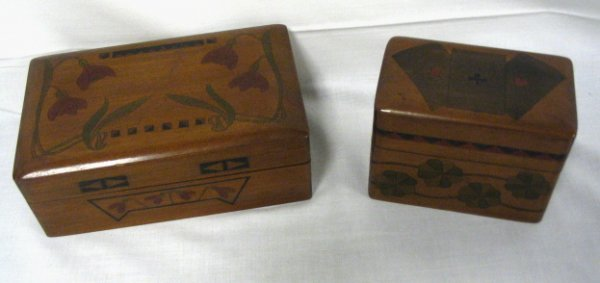 1004: 2 DECORATED WOODEN BOXES