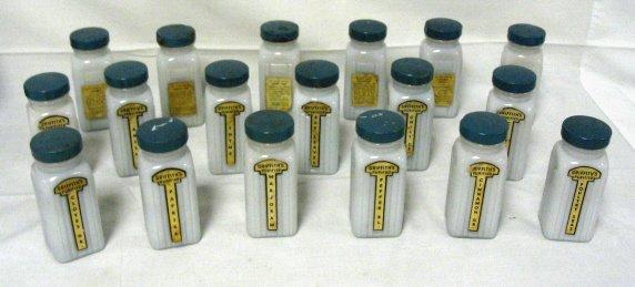 1017: SET OF 18 GRIFFITH'S SPICE JARS; MILK GLASS W/ORI