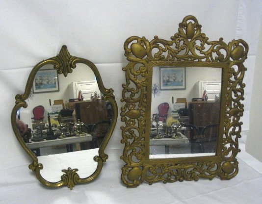 1020: 2 MIRRORS; CAST IRON TABLE TOP & BRASS HANGING; L