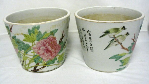1023: ORIENTAL HAND PAINTED POTS, PAIR; HAVE CHARACTER