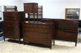 1105: 4 PC MAHOGANY BEDROOM SUITE; FULL SIZE BED W/RAIL