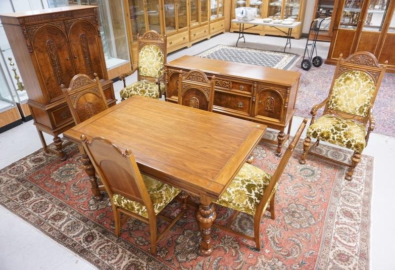 CARVED WALNUT 9 PC DINING ROOM SUITE