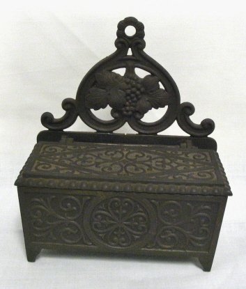 2: CAST IRON VICTORIAN MATCH BOX; CAN SIT OR HANG; STRI