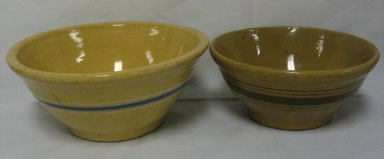 3: 2 YELLOWARE MIXING BOWLS; ONE W/BLUE & WHITE BANDS,