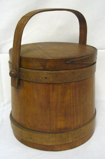 4: WOODEN FIRKIN; 12 IN TO TOP OF HANDLE; 9 1/2 IN DIA