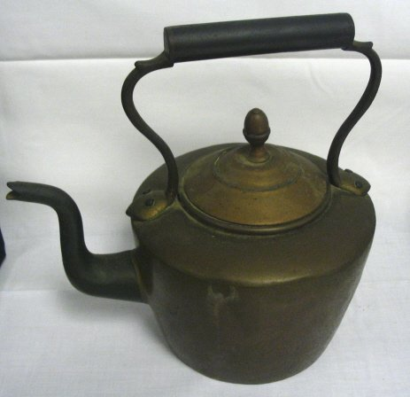 8: DOVETAILED COPPER TEA KETTLE; 9 3/4 IN H TO TOP OF H