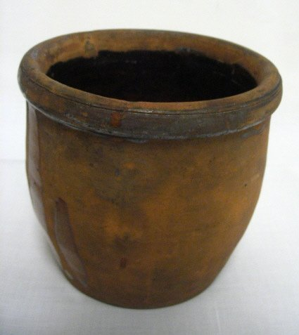 13: REDWARE CROCK; GLAZED INSIDE ONLY; 5 IN H, 5 1/4 IN