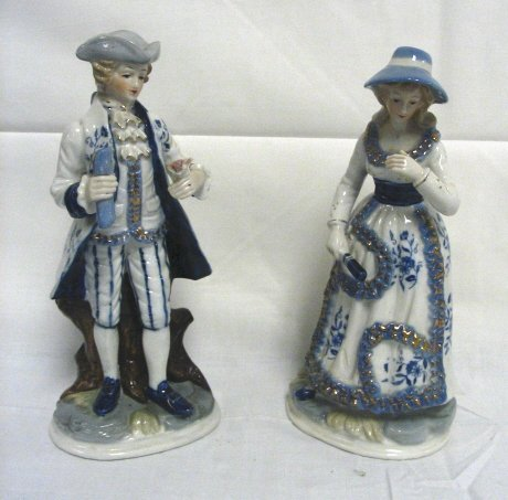 16: PR OF HAND PAINTED PORCELAIN FIGURES; MAN & WOMAN;