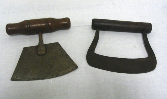 22: 2 PRIMITIVE HAND WROUGHT CHOPPERS; BOTH APPROX 6 IN