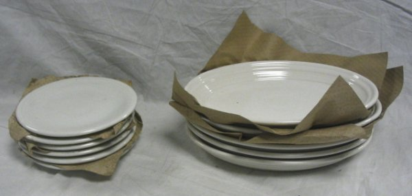 1003: FIESTA LOT; WHITE; 6 SMALL PLATES, 5 OVAL PLATTER