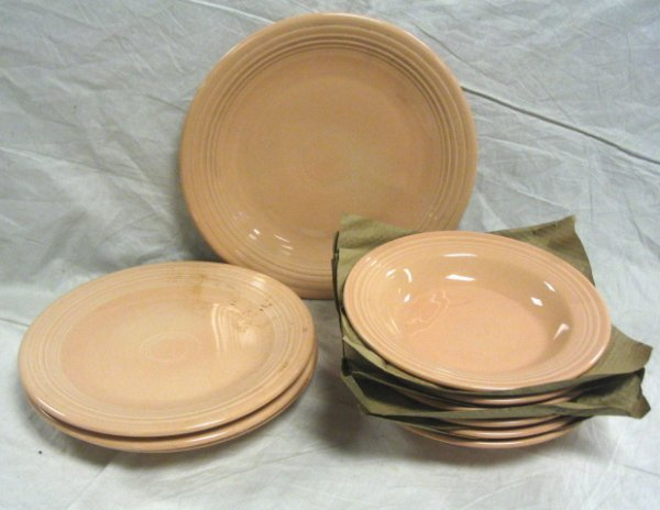 1005: FIESTA LOT; APRICOT; 5 SOUP BOWLS, 3 DINNER PLATE