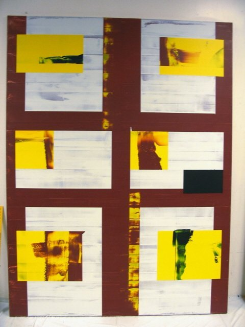 2160E: ALKYD ON LINEN BY STEPHEN ELLIS, UNTITLED, 1992