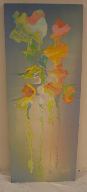 2185B: ARTIST SIGNED ABSTRACT PAINTING ON CANVAS