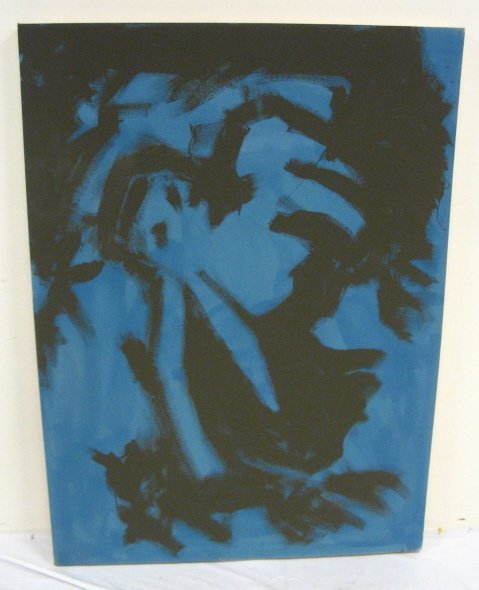 2210D: ABSTRACT OIL ON CANVAS BY R. RAMOS