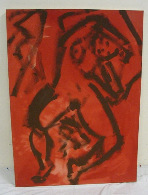2225E: OIL ON CANVAS OF 2 NUDES BY R. RAMOS