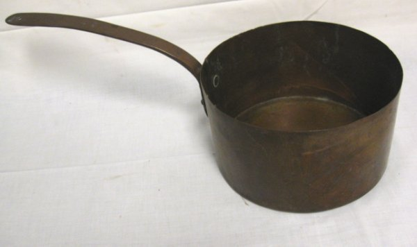 5: HANDMADE DOVETAILED COPPER PAN; HAS THE NUMBER 22 HA