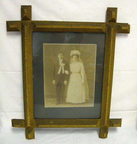 7: TRAMP ART FRAME W/VICTORIAN WEDDING PHOTO; PHOTO IS