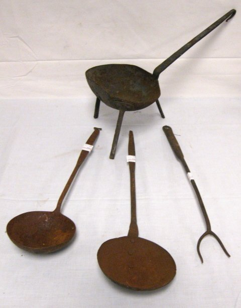17: 4 PC LOT OF EARLY WROUGHT IRON; FORK, 2 LADLES & A