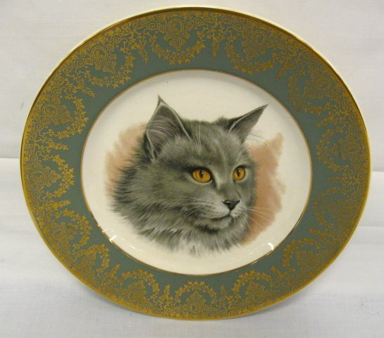 22: CROWN DUCAL CAT PLATE; HAS ORNATE GOLD DECORATION O