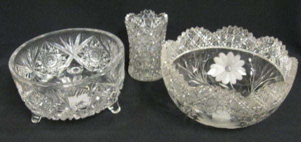 24: 3 PC DEEP BRILLIANT CUT GLASS; FOOTED FERNERY (8 IN