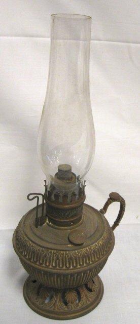 1001: BRADLEY & HUBBARD BRASS FINGER LAMP, SIGNED ON TH