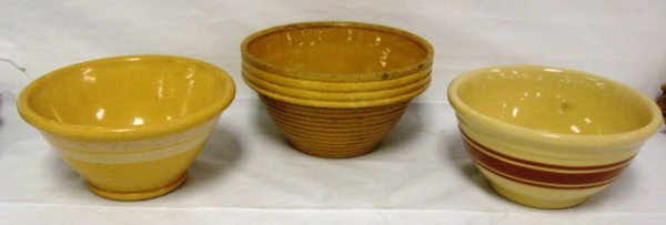 1002: LOT OF 3 YELLOWARE MIXING BOWLS, ALL DIFFERENT, A