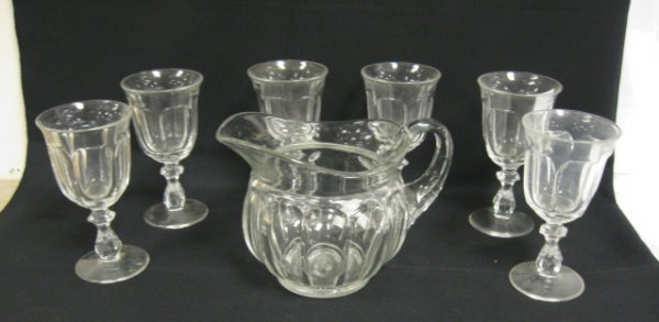 1006: SIGNED HEISEY PITCHER & 6 GOBLETS, COLONIAL PATTE