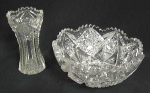 1010: DEEP BRILLIANT CUT GLASS BOWL & VASE; BOWL IS 7 I