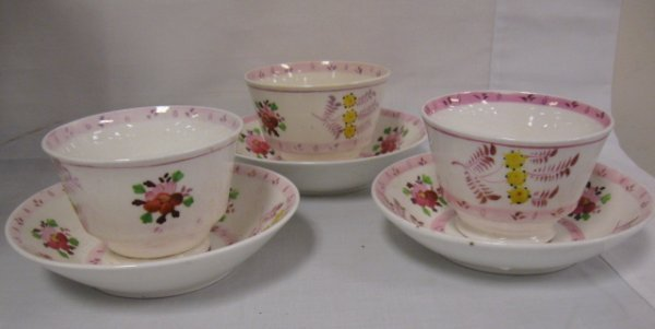 1011: SET OF 3 PINK LUSTER CUPS W/DEEP SAUCERS, ONE CUP