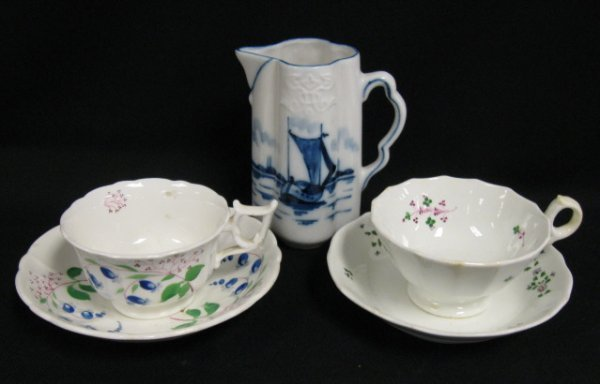 1014: LOT OF 2 EARLY HP CUP & SAUCER SETS & A BLUE DECO