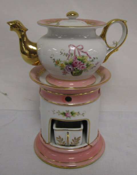 1020: HAND PAINTED TEA WARMER, HAS ORIGINAL CANDLE HOLD