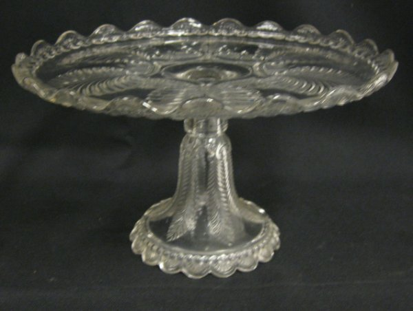 1023: EAPG CAKE STAND; 11 1/4 IN DIA, 6 1/4 IN H