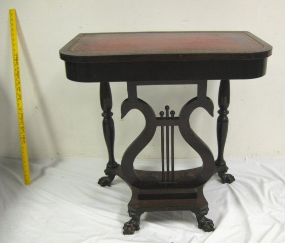 1195: LYRE BASE, LEATHER TOP MAHOGANY CONSOLE