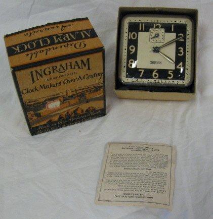 2002: CLOCK; INGRAHAM NIGHT & DAY ALARM CLOCK WITH W./O