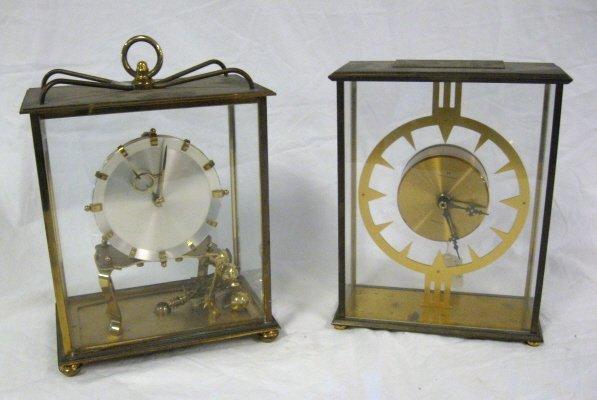 2008: CLOCK LOT; FOUR BRASS & GLASS MANTLE CLOCKS; 2 KU