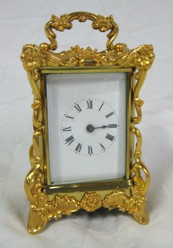 2013: CLOCK; GILT METAL CARRIAGE CLOCK; 5 1/2 IN H; ALL