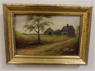 SMALL OIL ON BOARD LANDSCAPE, WINIFRED GETCHELL